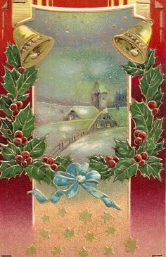 Gold bells and holly sprigs frame this lovely embossed vintage Christmas card. <> (yesteryear, olden days, Christmas past)