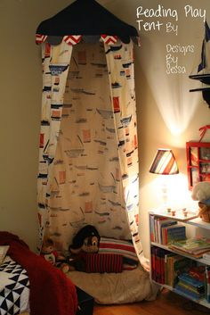 Shower Curtain, Hula Hoop, Table cloth into a reading play tent by Designs by Sessa