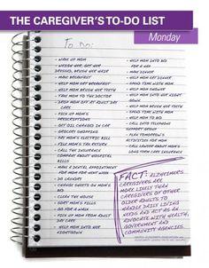 A caregiver's list can seem endless #alzheimers #tgen #mindcrowd www.mindcrowd.org