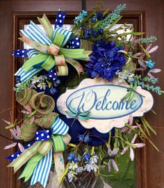 Welcome wreath with dragonflies and deep blue hues