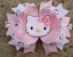 Kitty Hair Bows Large Boutique Hair Bow Light Pink and White Hair Bow Large Hair Bows, Ribbon Hair Bows, Diy Hair Bows, Diy Bow, Hello Kitty Bow, Hello Kitty Birthday, Princess Hairstyles, Crown Hairstyles, Princess Hair Bows