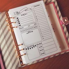 Insertos semanales para cualquier planificador medio! Cabe en Kikki K personal y cualquier otro planificador con tamaño de la página de