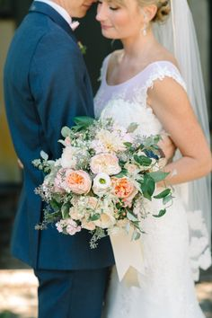 Romantic + rustic wedding bouquet: http://www.stylemepretty.com/new-jersey-weddings/chesterfield-township-new-jersey/2016/02/02/garden-party-inspired-wedding-infused-with-pineapples/ | Photography: Michelle Lange - http://www.loveandbemarried.com/