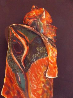Pfau in abstrakt handgemalt , Organza Seidenschal von Stefania Silk Arts auf DaWanda.com