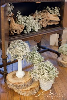 Baby's breath and grape wood accents in vintage cabinet.  by pinkposeydesign.com & cherished.com Gypsophila Wedding, Wedding Flowers, Vintage Cabinet, Wood Chandelier, Wedding Decorations, Table Decorations, Baby's Breath, Wood Accents, Own Home