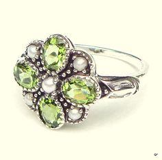 Sz 5.75 Art Deco StyleVintage Peridot Ring by JanesGemCreations