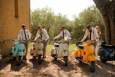 Destination Wedding at Pienza, Italy with a Fleet of Vespa's | Bride in Low Back Atelier Endeavour Gown| Bridesmaids in Eliza J Brocade Dresses | Groomsmen in Ties & Braces | Al Fresco Reception with Festoon Lights | Nordica Photography