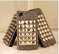 Punk style iPhone Case Black Swarovski Crystals case by changjikm, $23.89