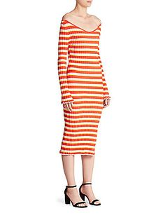 Altuzarra Socorro Striped Off-The-Shoulder Dress
