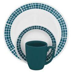 Corelle Livingware 16 Piece Dinnerware Set, Service for 4 Contemporary Dinnerware Sets, Aqua Band, Dinnerware Sets Walmart, Serveware, Tableware, Square Dinnerware Set, White Dinnerware, Kitchen Confidential, Stoneware Mugs