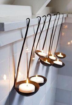 Antique ladle candle holders.