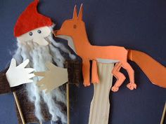 we bloom here: Tomten and Fox rod puppets