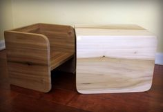Montessori Cube Chair Set - 1 large, 1 small by NaturaBaby on Etsy https://www.etsy.com/listing/178948888/montessori-cube-chair-set-1-large-1