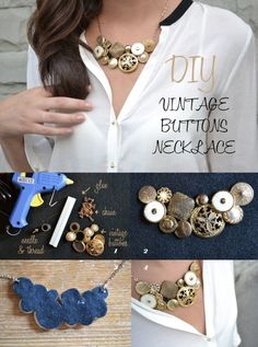 Unique jewelry piece made with buttons - Creative Side Of Life