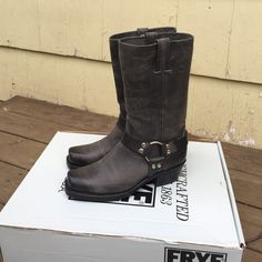 """FINAL SALE Women's Frye Harness 12R Women's Frye Harness 12R in Charcoal. NWT. NO TRADES!  FEATURES - Unlined - Rubber outsole - Goodyear welt construction - Made in USA - 11 1/2""""shaft height - 14"""" shaft circumference - 1 3/4"""" heel height - Stacked leather heel Frye Shoes Combat & Moto Boots"""