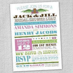 Luau Bridal Shower Invitation Set of 12 by funvites on Etsy, $24.00