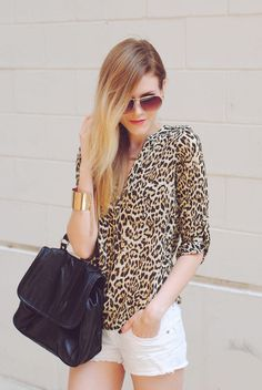Cat Attire. ( Animal Print Shirts & Blouses & Shorts ) with