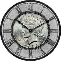 1935 Silver Peace Dollar Coin Clock $1 Slab MS Heirloom Wall Clock Office Art