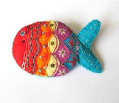 Handmade Embroidered Indian Textiles Inspired Rainbow Fish Brooch on Etsy, $21.56 CAD