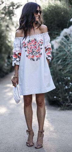 Embroidered mini dress.