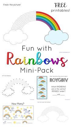 Rainbow Fun Mini Printable Pack ~ Rainbow trace and color, dot to dot, and ROYGBIV fun!