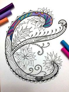 Harrington Font – Printable Zentangle Alphabet & Number Coloring Pages Doodles Zentangles, Zentangle Patterns, Zen Doodle, Doodle Art, Coloring Books, Coloring Pages, Mandalas Drawing, Tangle Art, Letter E