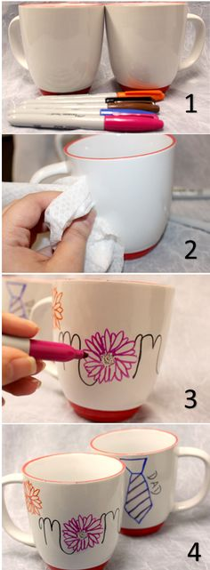 Celebrate Parent's Day on July 27th by decorating mugs to give your #Mom & #Dad! All you need are white mugs, permanent markers & alcohol wipes!