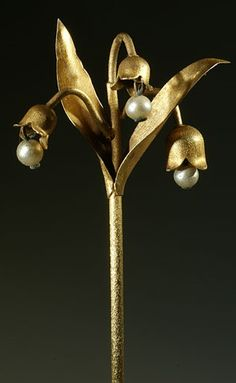 Delicate Lily of the Valley Hairpin Adorned with Beads Imitating Pearls, circa 1940.