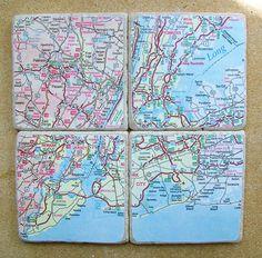 New York City Map Coasters by CarolinaCottage on Etsy, $29.00