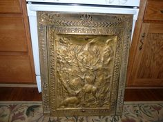 antique FIREPLACE COVER & Surround **beautiful Figural ...