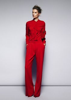RED ON RED Red on red is the colour block to be seen in. Whether you're bold enough to sport a suit ensemble or prefer a more understated red knit and red leather clutch combo as long as the two reds are close (i.e touching) you got it!