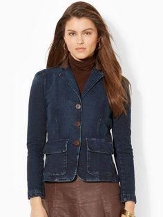 Look for Hourglass shape rather than square shaped jacket: Leather-Trim Denim Jacket - Lauren Jeans Co. Jackets - RalphLauren.com