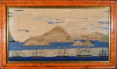 Sailor's Woolwork | Sailor's Woolwork or Woolie of a Royal Navy Squadron at Boca Tigris | Mid-19th Century | Earle D. Vandekar of Knightsbridge Inc. Royal Navy Frigates, Merchant Navy, Royal Marines, Victoria And Albert, Navy Ships, Old And New, 19th Century, Folk Art, Sailor
