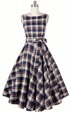 Vintage Scoop Neck Plaid Backless Dress