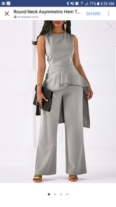Grey Two Piece Sleeveless Peplum Jumpsuit Sleeveless Asymmetric Hem Top and Grey Pants Look Fashion, Fashion Outfits, Womens Fashion, Latest Fashion, Grey Fashion, Trendy Outfits, Fashion Trends, Robes D'occasion, Black Jumpsuit