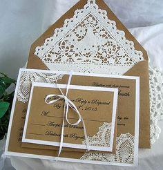 Custom Wedding Invitation & RSVP Kraft Vintage by AllThingsAngelas