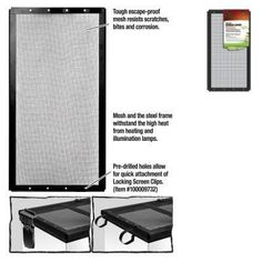REPTILE - TANK SCREEN COVERS - SCREEN COVER METAL BLK 16X8 - - CENTRAL - ENERGY SAVERS - UPC: 96316670082 - DEPT: REPTILE PRODUCTS