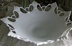Luscious Milk Glass Lace Pattern Westmoreland Glass Co.