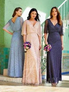 Flared Bridesmaid Dresses, Wedding Dresses, Dress Out, A Line Gown, Gowns With Sleeves, Dress Silhouette, Types Of Dresses, Adrianna Papell, Party Fashion