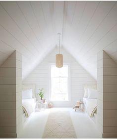 A Fresh Approach to Bedding, Furniture, and Home - Summer white – attic room – pendant – shiplap – white room - Attic Bedrooms, Coastal Bedrooms, Modern Bedroom, Attic Renovation, Attic Remodel, Attic Design, Home Design, Design Design, Design Ideas