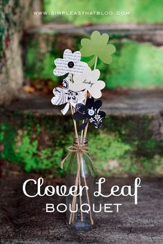 Clover Leaf Bouquet by Simple as That.  A few festive cardstock colors and patterns and a clover leaf shape cut out makes this beautiful bouquet for the home!  For sturdy cardstock in fun colors and patterns, visit www.cardstockshop.com.