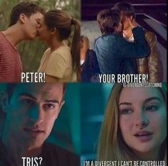 Shailene Woodley in the fault in our stars, divergent, and the spectacular now with characters from divergent joke, repin if you get it