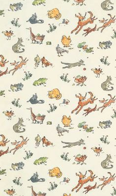 Quentin's Menagerie Designer Fabrics and Wallpapers by Sanderson, Harlequin, Morris, Osborne, Little And many Boys Wallpaper, Fabric Wallpaper, Nursery Wallpaper, Quentin Blake Wallpaper, Bedknobs And Broomsticks, Harlequin Fabrics, Woodland Bedroom, Sanderson Fabric, Osborne And Little