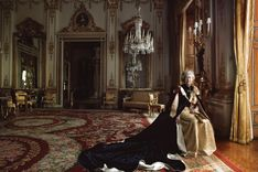 In this portrait Annie Leibovitz immortalizes the image of the queen. Annie captures the queen's essence with her composition and lighting, revealing the power that se represents.