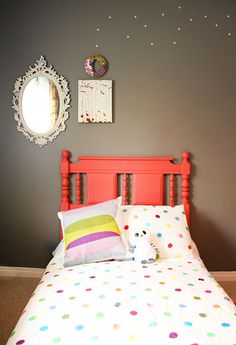 DIY spray painted coral bedframe. Great kids room color palette!
