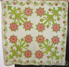 RARE 1860s 4 Block Album Applique Antique QUILT Red Gr STIPPLE Master Quilting
