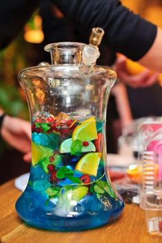 Flavored hookah bases. Add juice, cut-up fruit, or herbal oils for added flavor. Add ice or food coloring for special effect. (NEVER USE CARBONATED LIQUID OR DAIRY IN BASE)