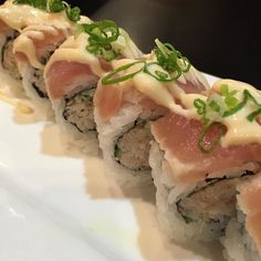 Are you looking for something out-side the menu? Try this one! Tuna Tataki Roll. Snow crab avocado & cucumber inside seared Tuna on top with ginger mayo and green onion. Yumyumyum. #squamish #sushi #tataki #greenonion by sushisensquamish