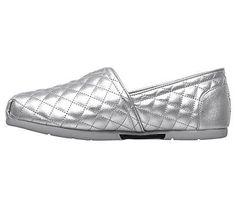 Skechers Women's Luxe Bobs Check Point Memory Foam Slip On Shoes (Silver/Silver)
