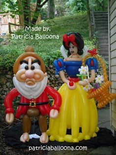 Balloon Snow White and Grumpy Dwarf made by Patricia Balloona, http://patriciaballoona.wordpress.com/2014/06/30/372nd-and-373rd-balloon-sculptures-snow-white-and-grumpy-dwarf/
